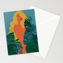 Naturist // Woman, Plants, Forest, Leaf, Leaves, Nature, Natural Stationery Cards