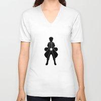 kakashi V-neck T-shirts featuring Naruto - Nine Tails Chakra Mode by Kesen