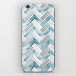 Parquetry in Watercolour - Powder Blue iPhone Skin