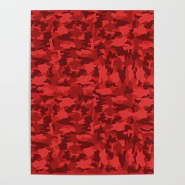Red Background Camouflage Pattern Poster