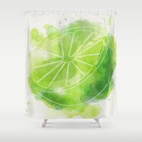 lime green Shower Curtains featuring Lime by Ashley Stone