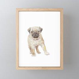 Watercolor Pug Puppy Framed Mini Art Print