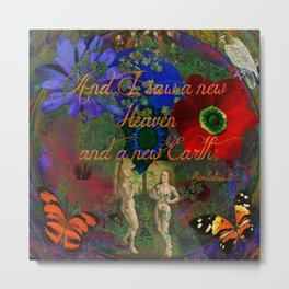 "Adam and Eve's Scriptured ""Earth"" Metal Print"