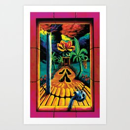 Psychedelic Surreal Trippy Art  by Vincent Monaco - Skull Garden Illusions Art Print