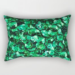 Green Scattered Sequins Rectangular Pillow