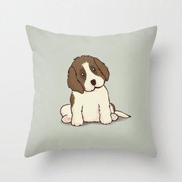 Saint Bernard Dog Illustration Throw Pillow