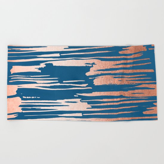 Tiger Paint Stripes - Sweet Peach Shimmer on Saltwater Taffy Teal Beach Towel