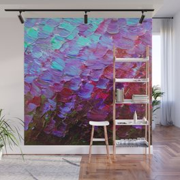 MERMAID SCALES - Colorful Ombre Abstract Acrylic Impasto Painting Violet Purple Plum Ocean Waves Art Wall Mural