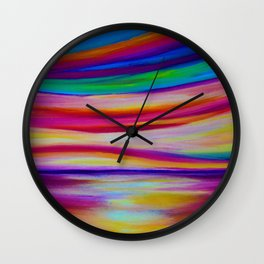 RAINBOW REFLECTIONS - Abstract Seascape/ Sky Oil Painting Wall Clock