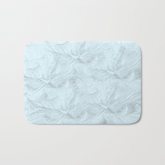 Delicate Mint Green Floral Abstract Bath Mat