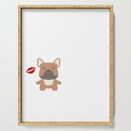 I Kissed A Frenchie And I Liked It Cute Dog Kiss Gift Idea Serving Tray