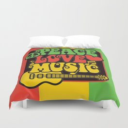 Rasta Peace Love Music Duvet Cover