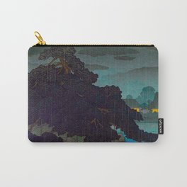 Vintage Japanese Woodblock Print Raining Landscape Tree On Rock Leaning Into The Lake Comforting Nig Carry-All Pouch