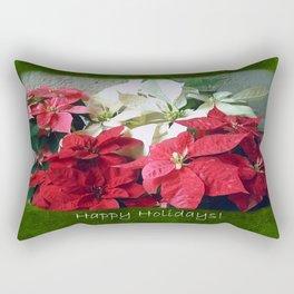Mixed color Poinsettias 3 Happy Holidays P1F5 Rectangular Pillow