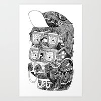 hipster Art Prints featuring hipster by Jess John