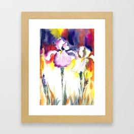 Expressive iris flowers Framed Art Print