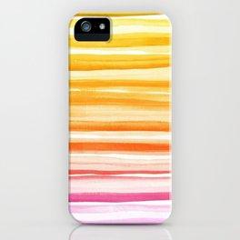 Pink Orange Yellow Ombre Fade Watercolor Brushstroke Ink iPhone Case