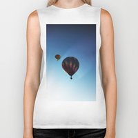 hot air balloons Biker Tanks featuring Rainbow Hot Air Balloons by Rachel Butler