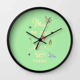 Hunger Game quality calligraphy - gold version - green Wall Clock