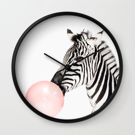 Funny zebra with pink bubble gum Wall Clock