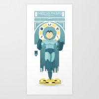 mega man Art Prints featuring Mega Man by yoursocialghost