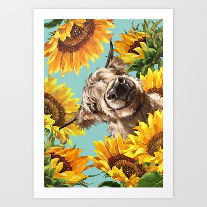 Highland Cow with Sunflowers in Blue Kunstdrucke