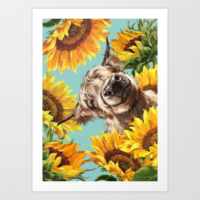 Highland Cow with Sunflowers in Blue Kunstdrucke