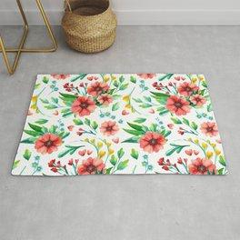 Watercolor flowers pattern Rug
