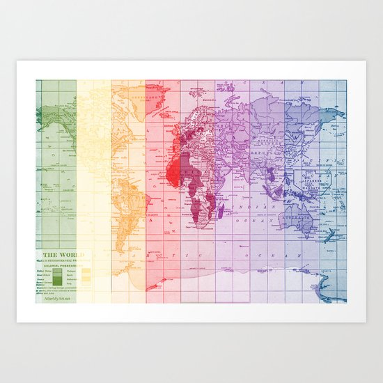Rainbow World Map Art Print