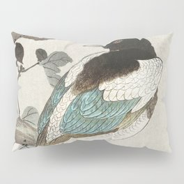 Magpie sitting on a tree branch - Vintage Japanese Woodblock Print Pillow Sham