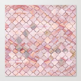 Moroccan Pattern in Marble and quartz crystal Texture Canvas Print
