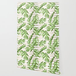 Simply Tropical White Gold Sands Stripes and Palm Leaves Wallpaper