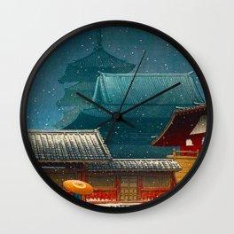 Vintage Japanese Woodblock Print Japanese Red Shinto Shrine Pagoda Winter Snow Wall Clock