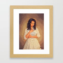 Woman Wearing White Dress Holding Musical Notes Framed Art Print