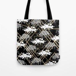 Geometrical faux gold black white floral pattern Tote Bag