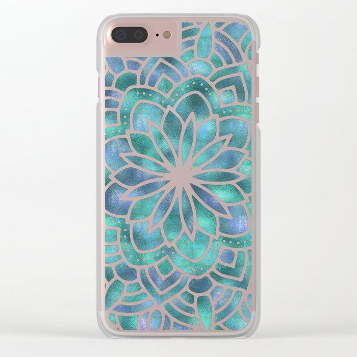 Mandala Succulent Blue Green Clear iPhone Case