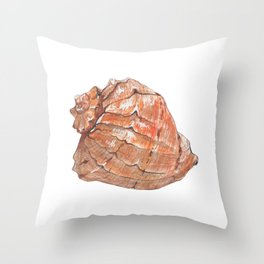 Watercolor Seashell Painting on White 6 Minimalist Coast - Sea - Beach - Shore Throw Pillow