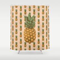 pineapples Shower Curtains featuring Pineapples by brocoli art print