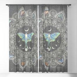 Lunar Moth Mandala with Background Sheer Curtain