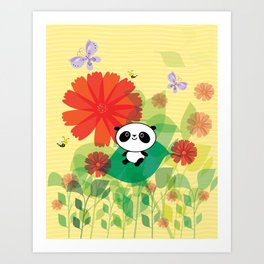 panda and flowers Art Print
