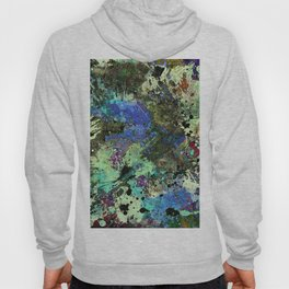 Deep In Thought - Black, blue, purple, white, abstract, acrylic paint splatter artwork Hoody