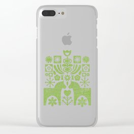 Swedish Folk Art - Greenery Clear iPhone Case