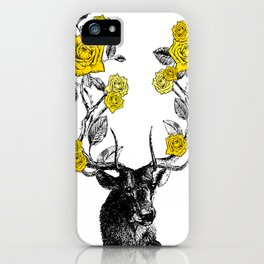 The Stag and Roses | Yellow iPhone Case