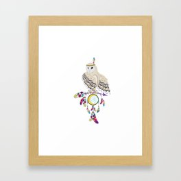 Owl with dreamcatcher Framed Art Print
