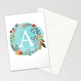Personalized Monogram Initial Letter A Blue Watercolor Flower Wreath Artwork Stationery Cards