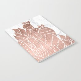 Modern faux rose gold cactus hand drawn pattern illustration white marble Notebook
