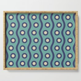 Mid Century Modern Rising Bubbles Pattern Turquoise and Blue Serving Tray