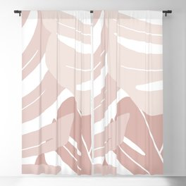 Pink monstera leaves Blackout Curtain