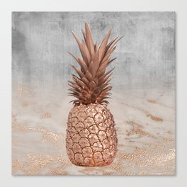 Pineapple in Glitter Marble Rose Gold And Concrete Canvas Print