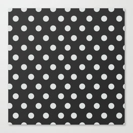 Dark Slate Grey Thalertupfen White Pōlka Large Round Dots Pattern Canvas Print